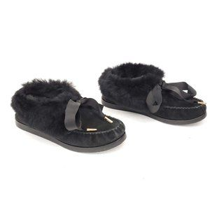 🖤 Tory Burch Suede/Fur Slippers Moccasins Size 5